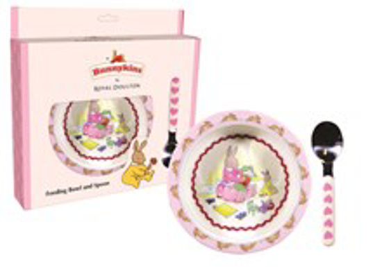 Picture of Bunnykins Feeding Bowl & Spoon - Sweethearts